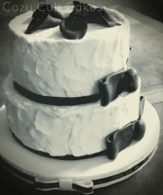Rustic Black and White Wedding Cake