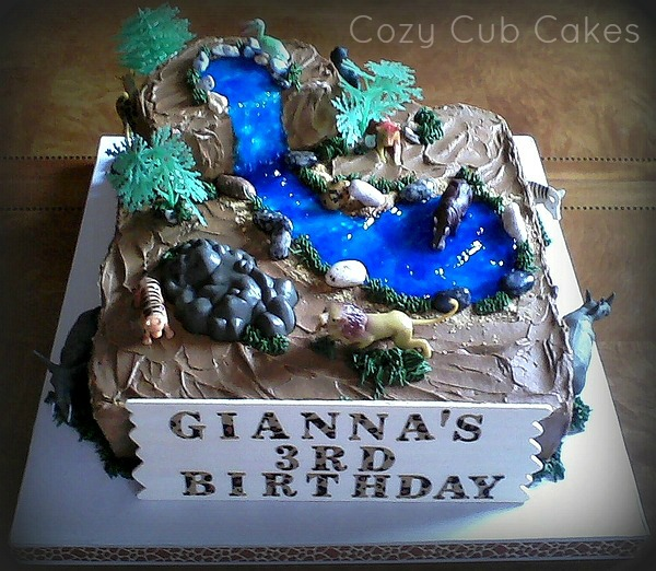 Tremendous Zoo Birthday Cake Cozy Cub Cakes Personalised Birthday Cards Cominlily Jamesorg