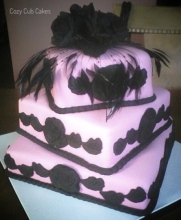 Black and Pink Bridal Shower Cake