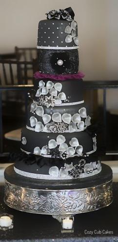 Gray and Bling Wedding Cake